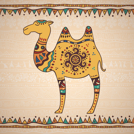 The bright decorative illustration with African patterns. Illustration