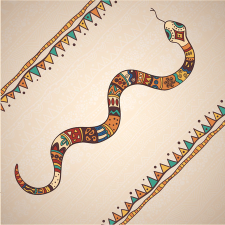 The bright decorative illustration with African patterns. 向量圖像