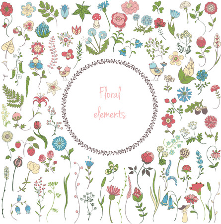 Big set of simple color floral elements: flowers, grass, leaves