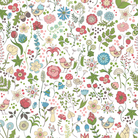Simple gentle seamless pattern with flowers and birds on a white background. 向量圖像