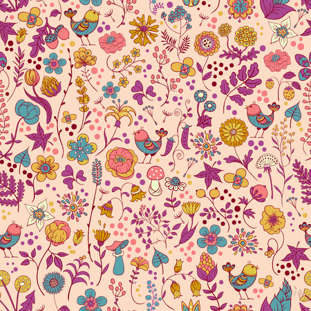 Simple gentle seamless pattern with flowers and birds on a white background. Illustration