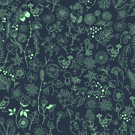 Simple outline seamless pattern with flowers and birds on a dark background. Illustration