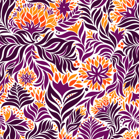 Vector seamless abstract flowers pattern. Endless background.