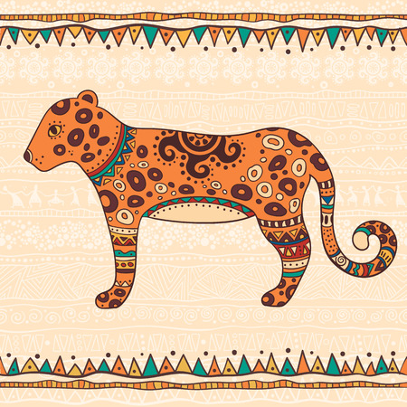 predators: The bright decorative illustration with African patterns. Can be used in fabric design for making of clothes, accessories, creating decorative paper, wrapping, envelope, in web design