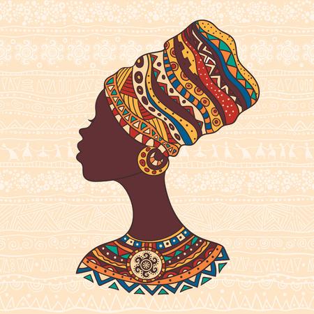 La ilustración decorativa brillante con patrones africanos. Puede ser utilizado en el diseño de la tela para la fabricación de ropa, accesorios, creando papel decorativo, envoltura, sobre, en el diseño web Ilustración de vector