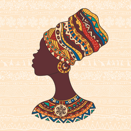 turban: The bright decorative illustration with African patterns. Can be used in fabric design for making of clothes, accessories, creating decorative paper, wrapping, envelope, in web design