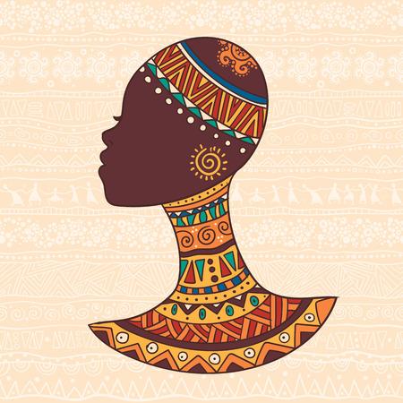 La ilustración decorativa brillante con patrones africanos. Puede ser utilizado en el diseño de la tela para la fabricación de ropa, accesorios, creando papel decorativo, envoltura, sobre, en el diseño web