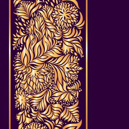 Beautiful surround gold pattern on a dark purple background. Illustration