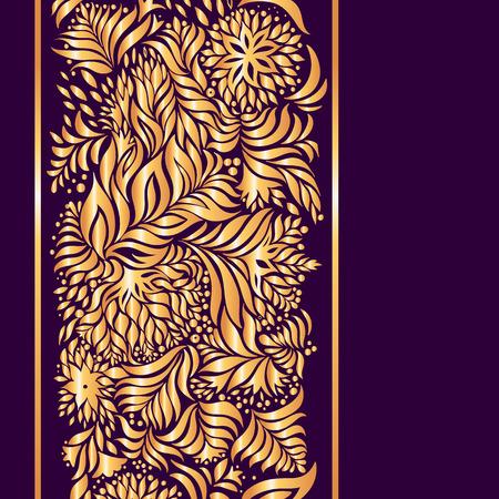 Beautiful surround gold pattern on a dark purple background. Illustration