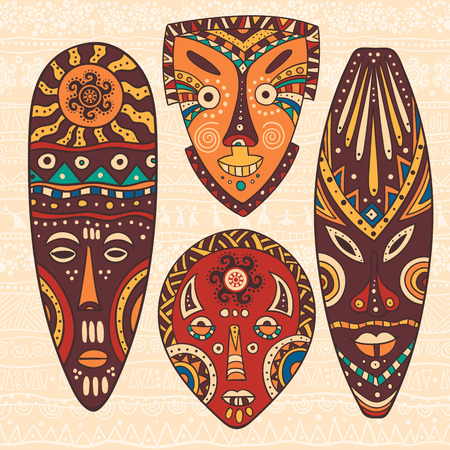 voodoo: The bright decorative illustration with African patterns. Can be used in fabric design for making of clothes, accessories, creating decorative paper, wrapping, envelope, in web design
