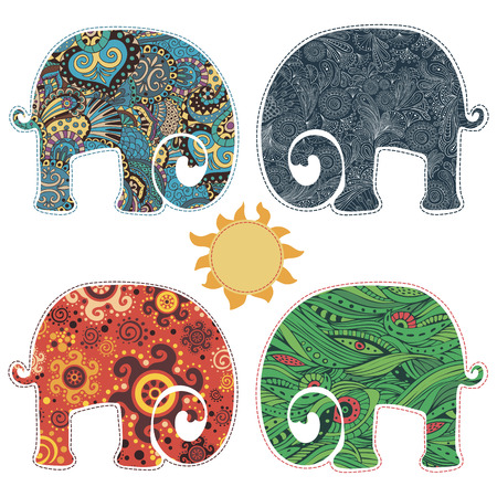 Set of four elephants, decorated with different patterns. Four seamless patterns in the file and can be been deployed separately
