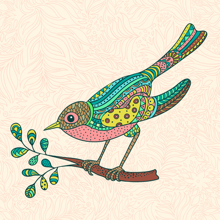 flora fauna: The bright decorative illustration with  patterns. Can be used in fabric design for making of clothes, accessories, creating decorative paper, wrapping, envelope, in web design