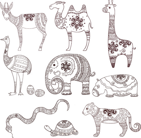 Set of 9 decorative illustrations depicting African animals, using ornaments. Illustrations can be used for printing on paper and painting by hand, as well as textiles, designs, etc. Illustration