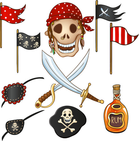 Set of bright elements in pirate style, which can be used for registration of the props for the party in pirate style, as well as for textile design, backgrounds, etc. Illustration