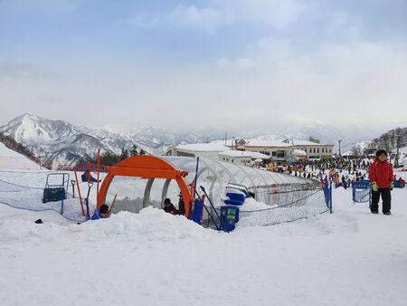 People playing ski sliders in gala yuzawa snow resort Japan ,2 feb 2018