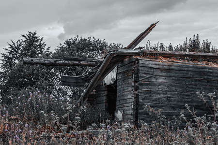 Ruined old wooden house made of lumber and boards. Abandoned ruined house in the countryside.