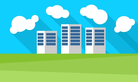 clouds scape: Small modern town of three houses. Vector graphics