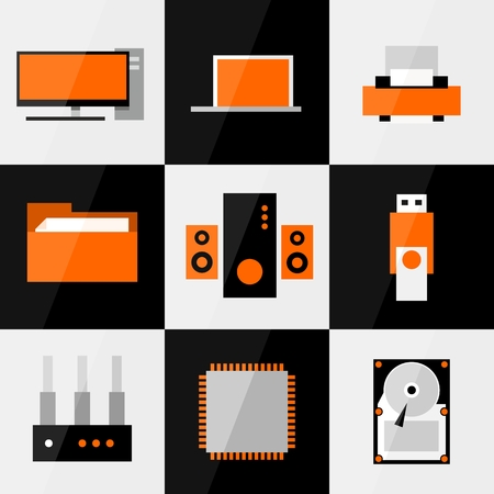 sub woofer: PC flat icon or button set.  Illustration