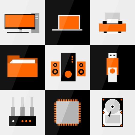hub computer: PC flat icon or button set.  Illustration