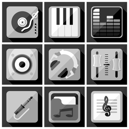 music: Music and sound icons. Illustration