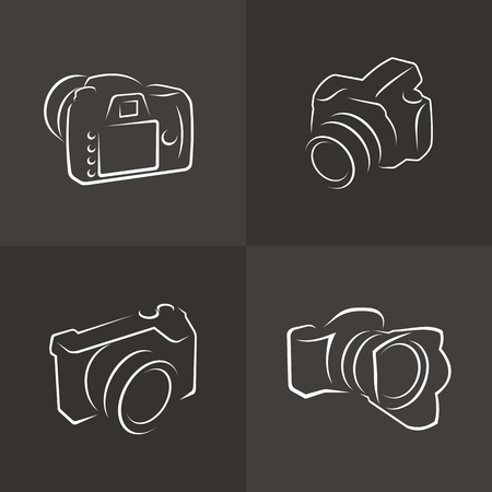 Set of icons and cameras  Illustration