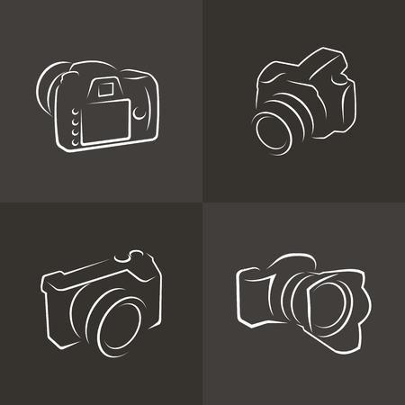 Set van pictogrammen en camera's