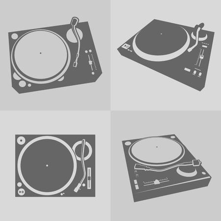 turntables: Four DJ Turntables on gray background.  Illustration