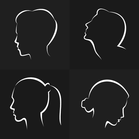 Silhouettes of womens heads.
