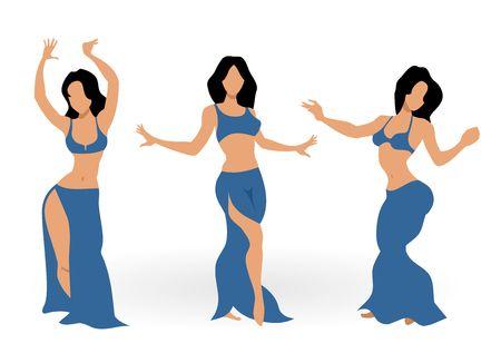 Tres hermosas chicas de danza del vientre. ilustración vectorial