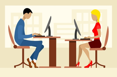 typing: Two office workers. Man and woman working at the computer