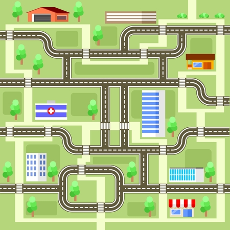 Road map with houses, clinics and shops