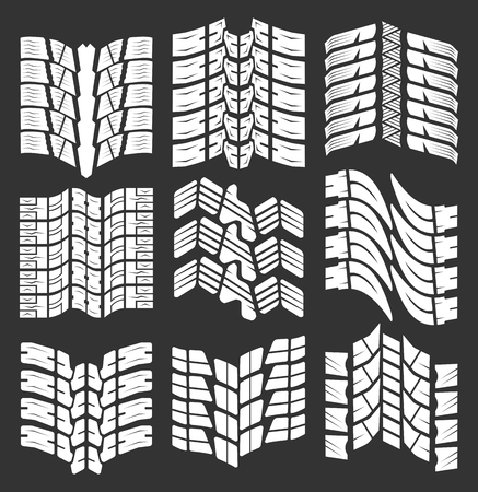 skidding: Set of vector tire tracks, tire marks, tire tread Illustration