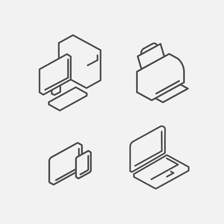 ssd: Computer isometric line icon set in vector format Illustration