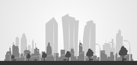 city background: City skyline background. Lampposts, benches, trees Illustration
