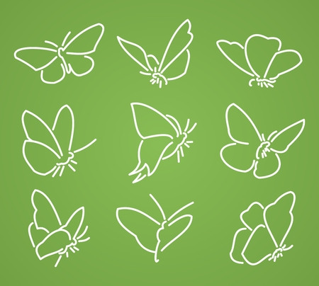 migrating: Illustration set beautiful butterfly on green background
