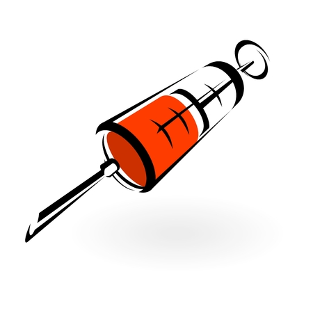 clinical research: Medical Syringe and needle vector on white background