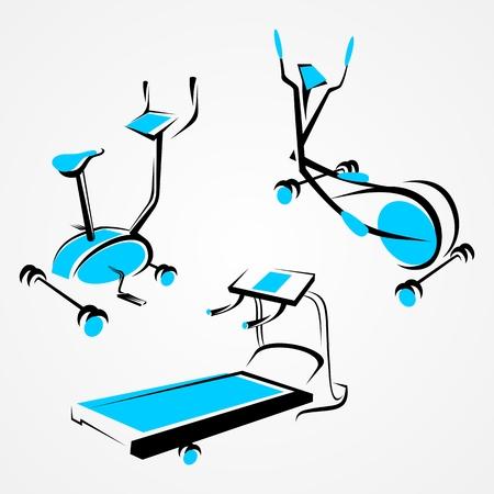 elipse: Conjunto de entrenador deportivo. elipse máquina de fitness, bicicleta y cinta