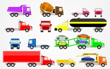hauling: Vector set of trucks Color flat icons.