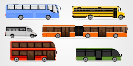 long distance: Flat design illustration city transportation, bus, intercity, long distance tourist bus and school bus