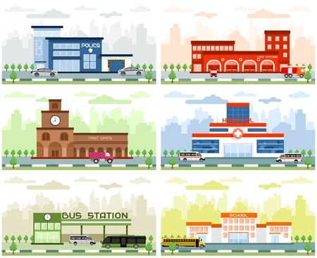post office building: City departments buildings in flat design