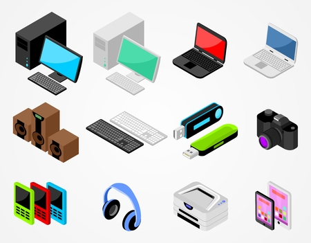handheld device: Set of isometric gadgets with desktop, laptop, keyboard, speakers, flash card, camera and other