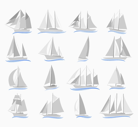 inflate boat: Set of different sailing ships. Stock Photo