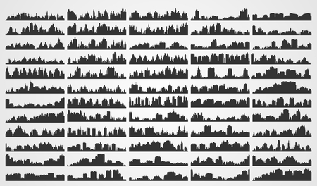 skylines: Set of city skylines and city scapes Illustration