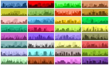 skylines: Set of city skylines and cityscapes