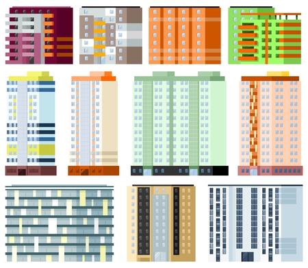 penthouse: City buildings set on white background Illustration
