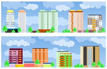 penthouse: Facades of buildings. two vector banner in flat style