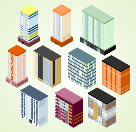 suburban home: Set of isometric building icons for map building Illustration