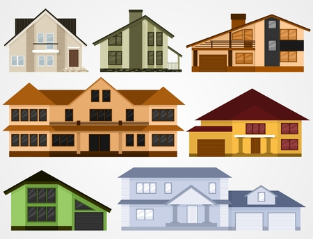 residential neighborhood: Town house cottages. Flat set vector illustration