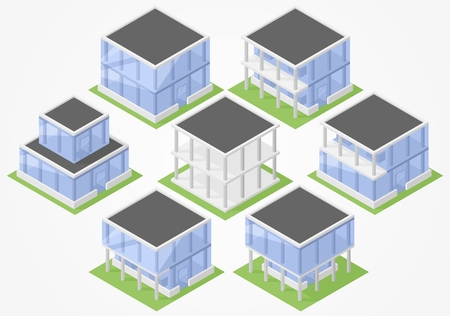 suburban home: Isometric set of glass office buildings and building frame Illustration