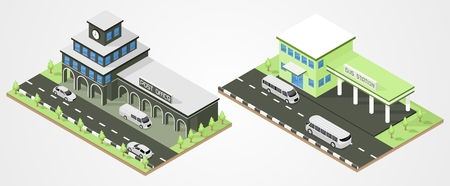 overhang: Bus station and post office department isometric. city buildings